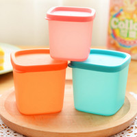 Wholesale 6pcs pp plastic food container crisper refrigerator microwave jars for spices ml ml storage jar blue orange pink