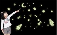 Wholesale Wall Stickers home decoration Rocket ship Cosmos Stars Glow in the Dark Luminous Fluorescent PVC Stickers