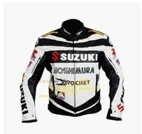 leather motorcycle racing jackets - SUZUKI PU leather racing suits motorcycle clothing protective clothing handsome male motorcycle riding clothes motorcycle jacket