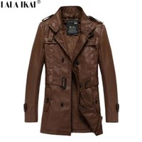leather trench coat - PU Leather Winter Trench Coat Men Velvet Thick Long Parka Single Breasted Men s Coat New Arrival SMS0013