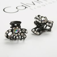 Wholesale 2015 unique fancy mixed colors rhinestone hair claw metal jaw black hair clips Wwholesale