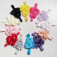 beautiful color combinations - beautiful Gril Flower scarf Headwear handmade Head Flower triple pearl Crystal Chiffon flower combination Elastic Headbands