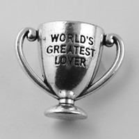 antique trophy cups - Valentine s Day Jewelry Metal Zinc Alloy Antique Silver Plated World s Greatest Lover Trophy Cup Charms And Pendants