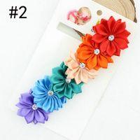 Wholesale Hot baby kids Triple Satin Ribbon Flower Headband With Rhinestone Baby Headbands
