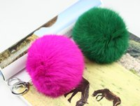 Wholesale new Genuine Leather Rabbit fur ball plush bag Pendant car key ring chains styling price