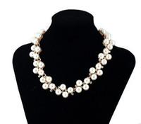 twisted pearl necklace - Fashion Jewelry Pendant Crystal Chain Chunky Statement Pearl Bib Necklace