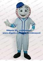 baseball globe - Light White Baseball Tennis Tenis Ball Mascot Costume Sports With White Sports Wear Globe Nose Blue Sleeves Smile No Free Sh