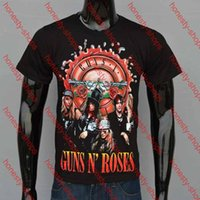 Wholesale New Summer Men Cotton O neck Short sleeve Top Tees Personality D GUNS N ROSES Printed T shirts Black S XXL