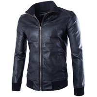 best leather motorcycle jacket brands - Fall Hot Sale Men Leather Jacket Best selling Motorcycle Windproof Leather Coat Jacket Men Brand Solid Turtleneck Jacket ZPY28