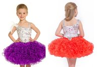 Wholesale Cascading Ruffles Cute One Shoulder Infant Cupcake Toddler Pageant Dresses Mini Short Gowns Flower Girls Dress For Party and Wedding