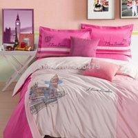 big comforter - Dropship Cotton home textile Love London Big Ben embroidered bedding Designer s bedding set bed sheet comforter cover king