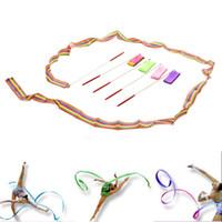 Wholesale Newly Design Dancing Ribbon Streamer Gym Rhythmic Rod Art Gymnastic Ballet Twirling Stick cm Sport Entertainment