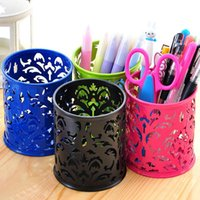 Wholesale Brand New Hollow Rose Flower Design Cylinder Pen Pencil Holder Organizer Container