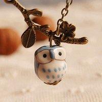 alloy paint colors - Vintage Owl Necklaces owl Pendant Necklaces ceramic owl hand painting colors
