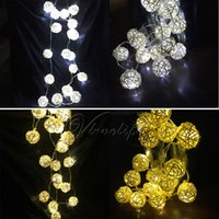 Wholesale New Led Rattan Balls Fairy Light Wedding Party Xmas String Battery Bedroom Garden Xmas Party Decorations order lt no track