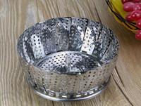 Wholesale 1000PCS HHA756 Hot Sell kitchen tools Folding Stainless Mesh Food Dish Vegetable Fruit Steamer Basket Folding fruit bowl