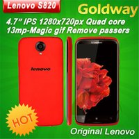 Wholesale Lenovo S820 Quad Core MTK6589 android GHz Smartphone with GB RAM GB ROM IPS Screen Camera MP G WiFi GPS Dual SIM cell Phone