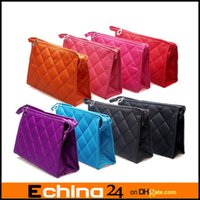 Wholesale Woman Rhombus Design Zip Closure Make Up Cosmetic Bag Pocket With Mirror Sizes