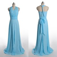 Wholesale Sky Blue Long Bridesmaid Dresses Cheap Halter Sweep Train Bow Sash Chiffon A Line Prom Dresses Backless Party Formal Dress For Bridesmaid