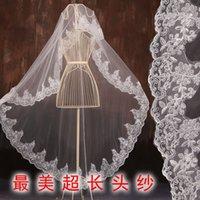 Wholesale Korean lace bridal veil meters long trailing wedding dress accessories new white veil