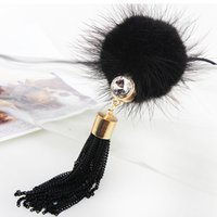 ball val - Factory mink fur ball tassel autumn Korean crystal jewelry necklace accessories decorative sweater chain long autumn lady Val