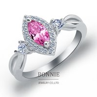 Wholesale Lovers gift white red pink crystal gemstone ring fashion women shinning CZ diamond rings sterling silver plated wedding rings SR0668