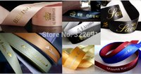 Wholesale High Quality Custom stain brand logo ribbon with D effect golden or silver stamping for decoration