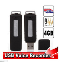 Wholesale 2 in1 Mini GB USB Pen Flash Drive Disk Digital Hide Audio Voice Recorder Hours Sound Rechargeable Recording Dictaphone tapping device