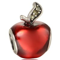Wholesale Red apple rhinestone silver charms fits for european pandora style charms bracelets Sterling Silver Jewelry