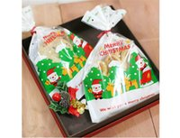 bakery food supplies - New Santa Claus Christmas Candy Cookies Plastic Bags Kitchen Bakery Roast Cake Snack Food Package Xmas Party Gifts Decorations Supplies