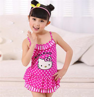 a910 - Cute Hello Kitty Wave Point Children Swimwear Baby Girls Beach Pink Swimsuit Bikini Fabrics And Comfortable Soft A910