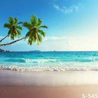al por mayor muslin background-Océano olas cocotero árbol fotografía telón de fondo para fotos muslin digital fotografía fondo vinilo estudio telón de fondo ordenador impreso