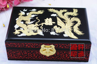 Wholesale Chinese traditional design handmade wooden light lacquer jewelry box with golden dragon decoration as gift