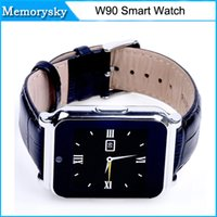 band calling cards - Smart Watch W90 MP Camera Anti lost Full View Leather Band Support TF Card Pedometer Sleep Monitor for Android IOS Phone in stock