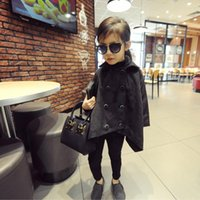 Wholesale New autumn winter kids childrens solid black woolen wool Children s Outwear