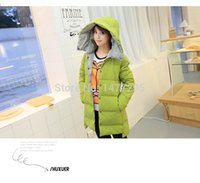 Wholesale new Korean Cher autumn and winter hooded thickening in long white feather down jacket dress