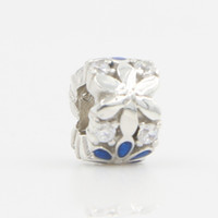 Wholesale DIY Silver Beads Fits Pandora Bracelet Necklace New Original Sterling Silver Blue Flower Charm Beads Lucky Sonny Store LB