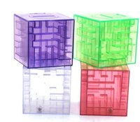 al por mayor alcancía laberinto-El envío libre 30pcs 3D Crystal Puzzel Laberinto Hucha caja de monedas educativos Niños Adultos juguete de la novedad Laberinto Hucha