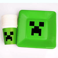 plates - Minecraft Paper Cups Toys Cartoon Figures Minecraft Creeper Drinking Cup Tableware Disposable Mug Dish for Party Paper Plates