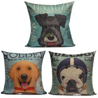 Wholesale Square Linen Dog Print Throw Sofa Office Decorative Pillow Cases Car Cushion Cover Home Decor