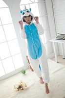 Wholesale Adult Blue unicorn kigurumi animal pajamas onesie Flannel autumn winter comfortable nightgown woman men unisex couple coral fleece pajama
