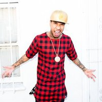 Wholesale 2015 Side Zipper Plaid High Quality Star Look Man Fashion Hip Hop Skakeboard Streetwear Swag T shirt Tops Tees Men Tyga Style