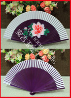 Imitation silk asian folding fans - Folk Art Style Fan Asian Handcraft Chinese Silk Folded Bamboo Fan Printing Silk Simulation Fan Ladies Hand Fan