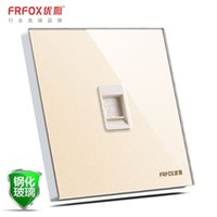 Wholesale Fox excellent C8 glass wall switches and sockets telephone socket panel phone jack socket weak