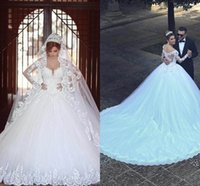 Wholesale 2016 Vetidos Arabia V Neck Ball Gown Wedding Dresses Vintage Sheer Long Sleeves Appliqued Cathedral Train Church Bridal Gowns Plus Size