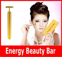 beauty relaxation - 2015 Beauty Bar Energy Beauty Bar K Gold Pulse Firming Massager Facial Roller Massage Facial Body Massage Relaxation With Boxes