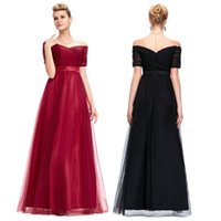 Wholesale Grace Karin Sexy Off Shoulder Black and Red Girl Pageant Dress Long Short Sleeve Soft Tulle Ball Gown Evening Prom Party Dress GK000077