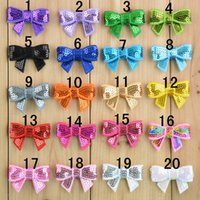 Cheap 20 colors in stock Hair Accessories 1.6in mini embroidery sequin bows for DIY headband boutique bow no clip 40pcs lot Bow32