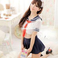 Wholesale New Sexy Lingerie WOMEN School Girl Costume Lingerie TOP MINI dress uniform Adult DH04