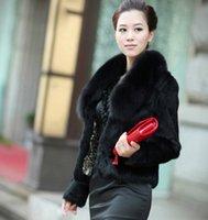 rabbit coat - hot selling new faux women fur coat women winter warm rabbit fur coat fox fur collar short